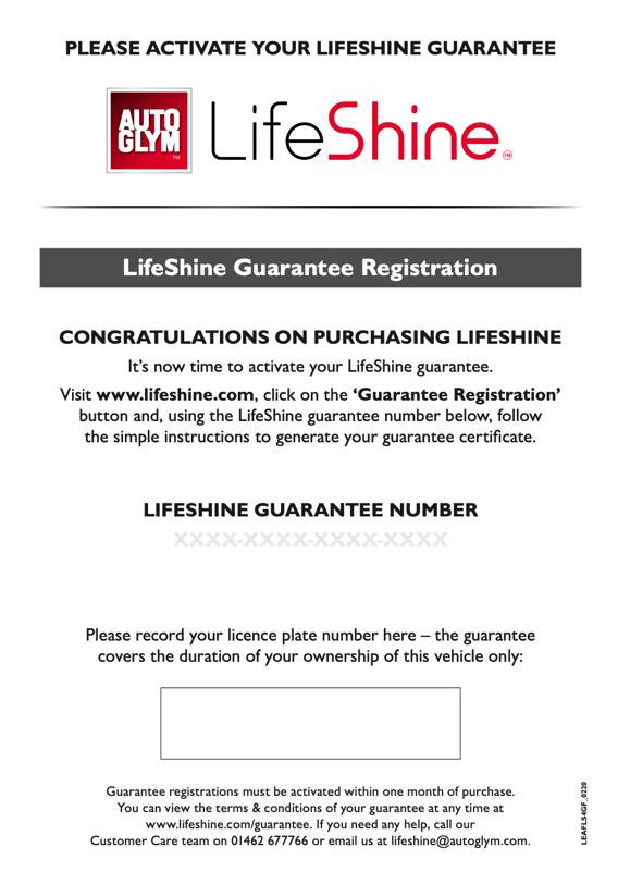 Where to find LifeShine Guarantee Number